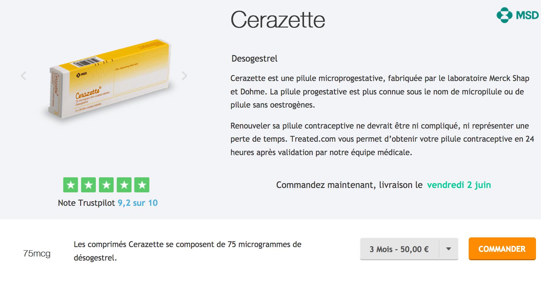 Acheter pilule Cerazette : prix, notice et effets secondaires